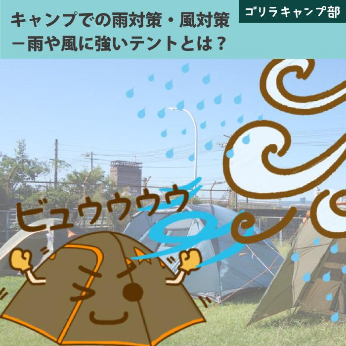 キャンプでの雨対策・風対策-雨や風に強いテントとは?- ゴリラキャンプ部