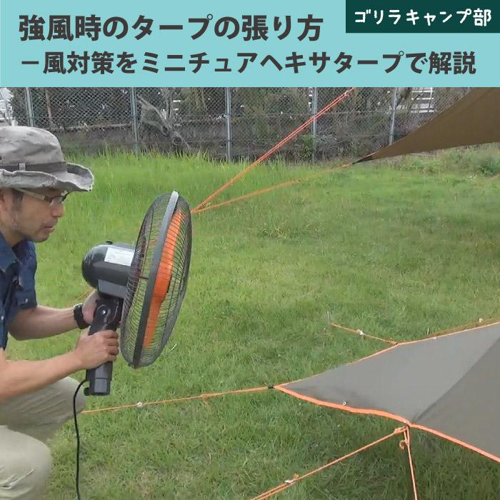 強風時のタープの張り方~風対策をミニチュアヘキサタープで解説- ゴリラキャンプ部